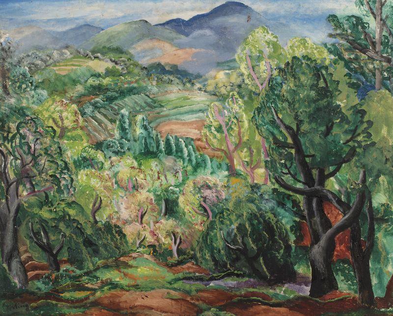 """Mojżesz Kisling (1891-1953) """"Pejzaż śródziemnomorski"""", źródło: Millon Drouot"""