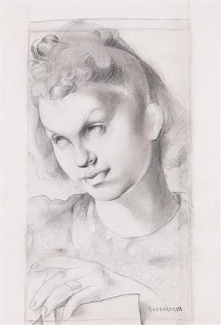 """Tamara Łempicka (1898-1980) """"Szkic do portretu młodej dziewczyny"""", źródło: Auktionshaus im Kinsky GmbH"""