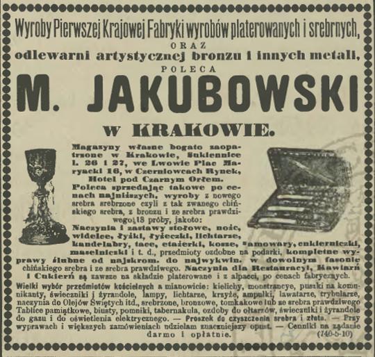 """Reklama firmy M. Jakubowskiego w prasie, źródło: """"Czas"""" 1901, nr 67 (21 III), wydanie popołudniowe"""