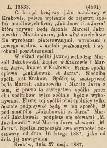 "Wpis do rejestru spółek, źródło: ""Gazeta Lwowska"" 1887, nr 152 (7 VII)"