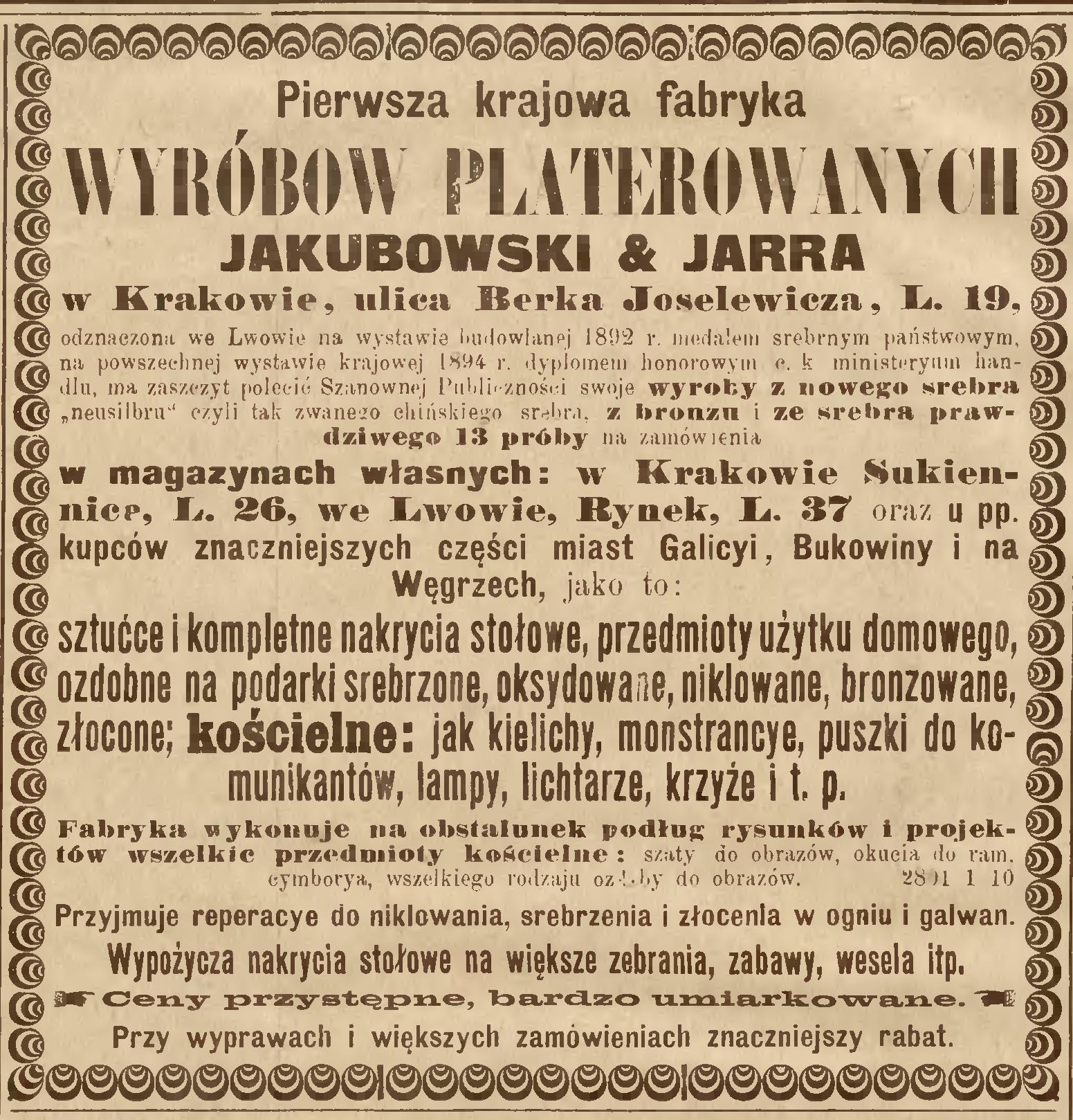 """Reklama firmy Jakubowski & Jarra w prasie, źródło: """"Nowa Reforma"""" 1895, nr 289 (15 XII)"""