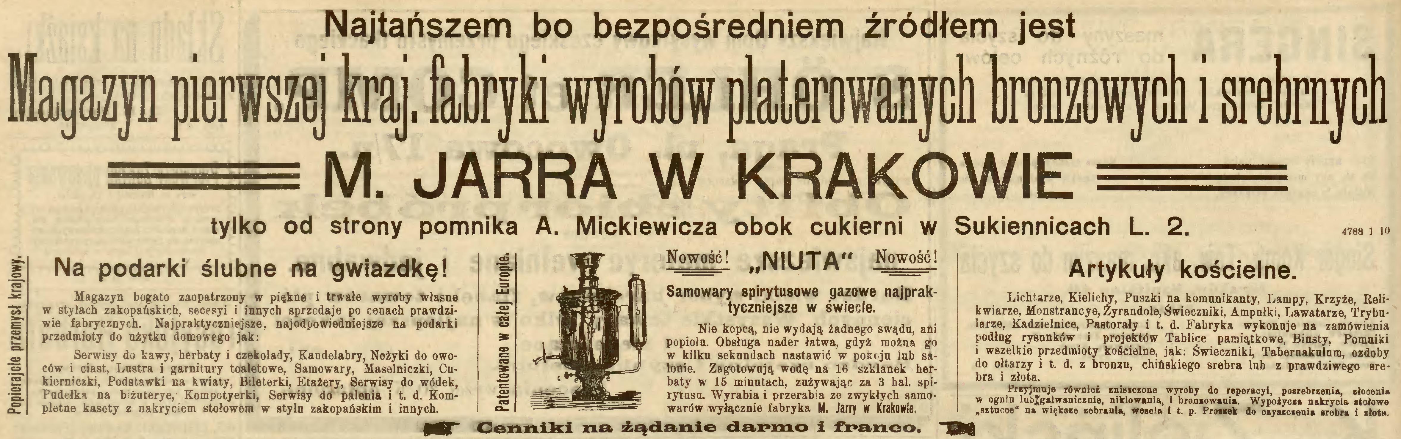 """Reklama firmy M. Jarry w prasie, źródło: """"Nowa Reforma"""" 1906, nr 251 (4 XI)"""