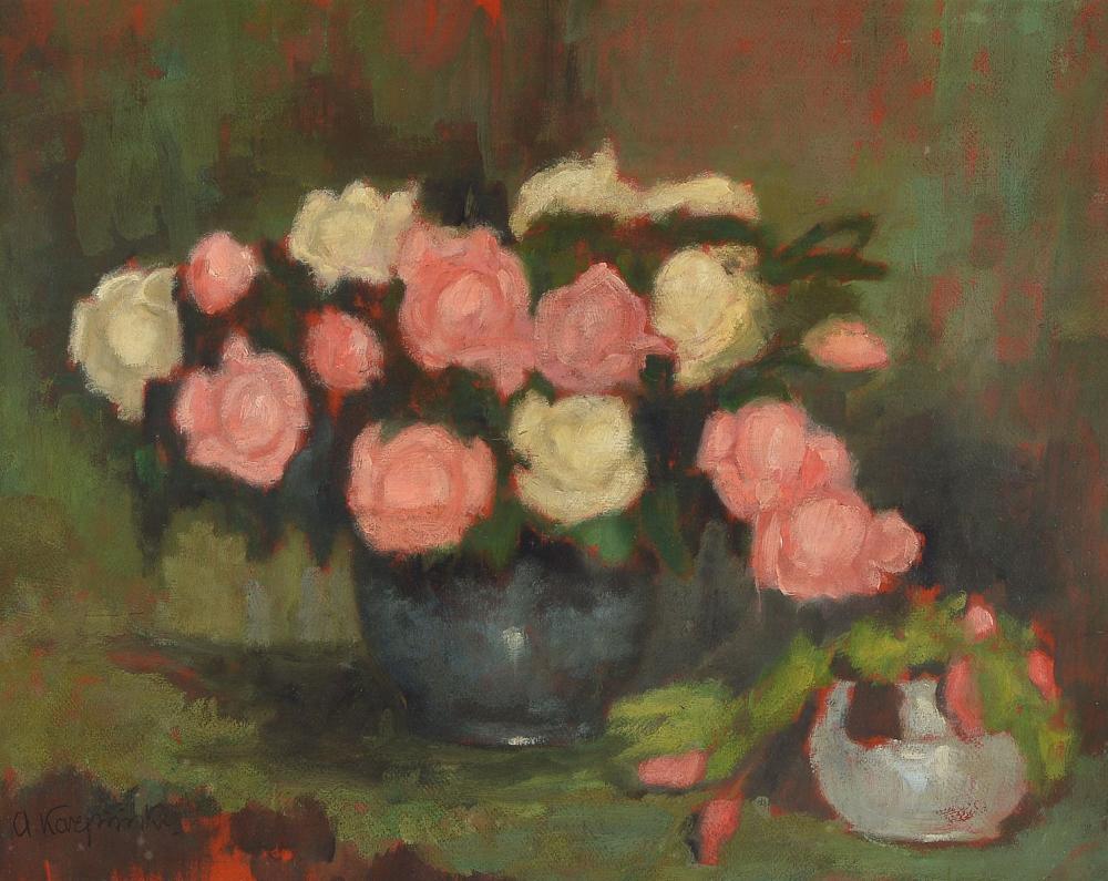 """Alfons Karpiński (1875-1961) """"Róże w wazonie"""", źródło: Henry's Auktionshaus"""