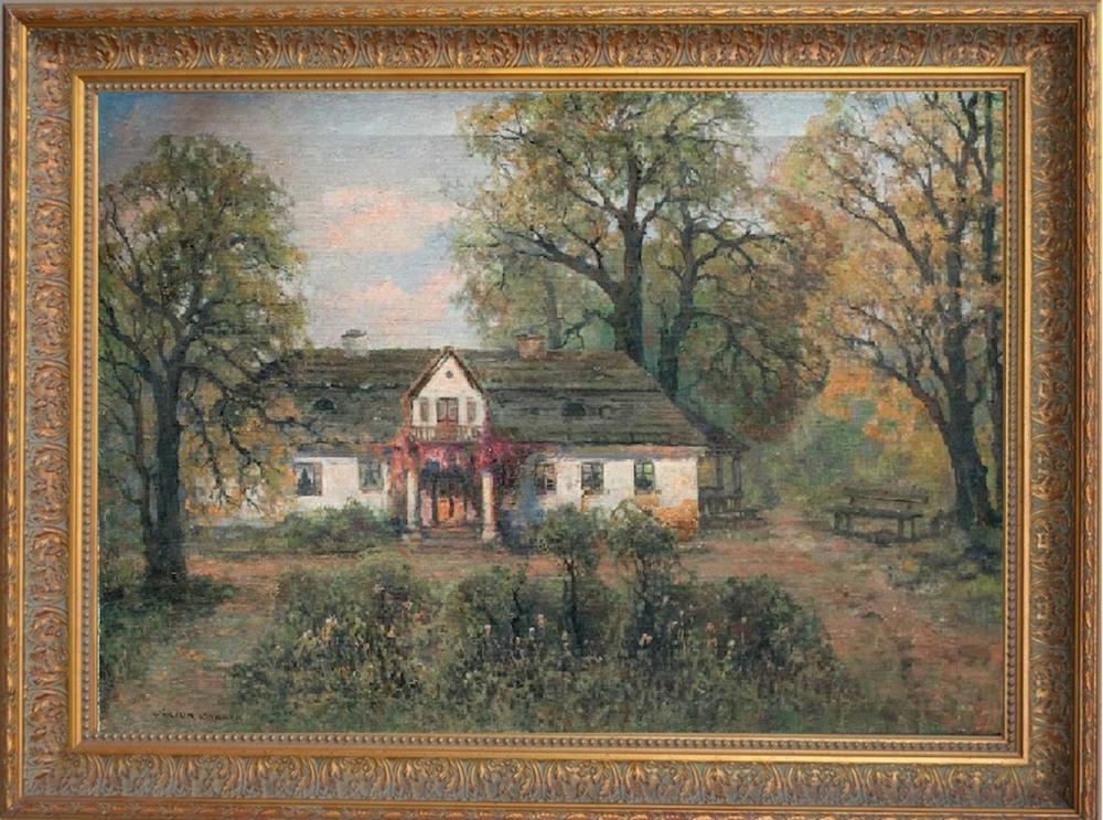 """Wiktor Korecki (1890-1980) """"Polski dworek jesienią"""", źródło: Art-Torg"""