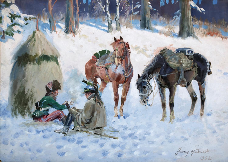 """Jerzy Kossak (1886-1955) """"Odpoczynek napoleońskich żołnierzy"""", źródło: Auktionshaus Peter Kiefer"""