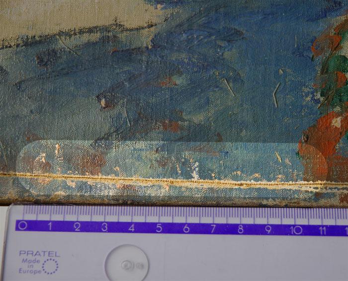 Widoczny ślad wycięcia obrazu z przeciętą w połowie sygnaturą, źródło: Muzeum Narodowe w Poznaniu
