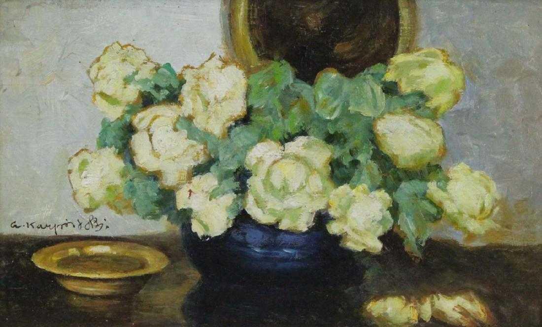 """Alfons Karpiński (1875-1961) """"Żółte róże"""" olej na tekturze, źródło: Clarke Auction Gallery"""