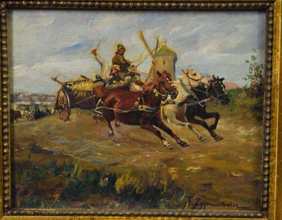"""Ignacy Zygmuntowicz (1885-1939) """"Powrót z jarmarku"""", źródło: Black River Auction"""