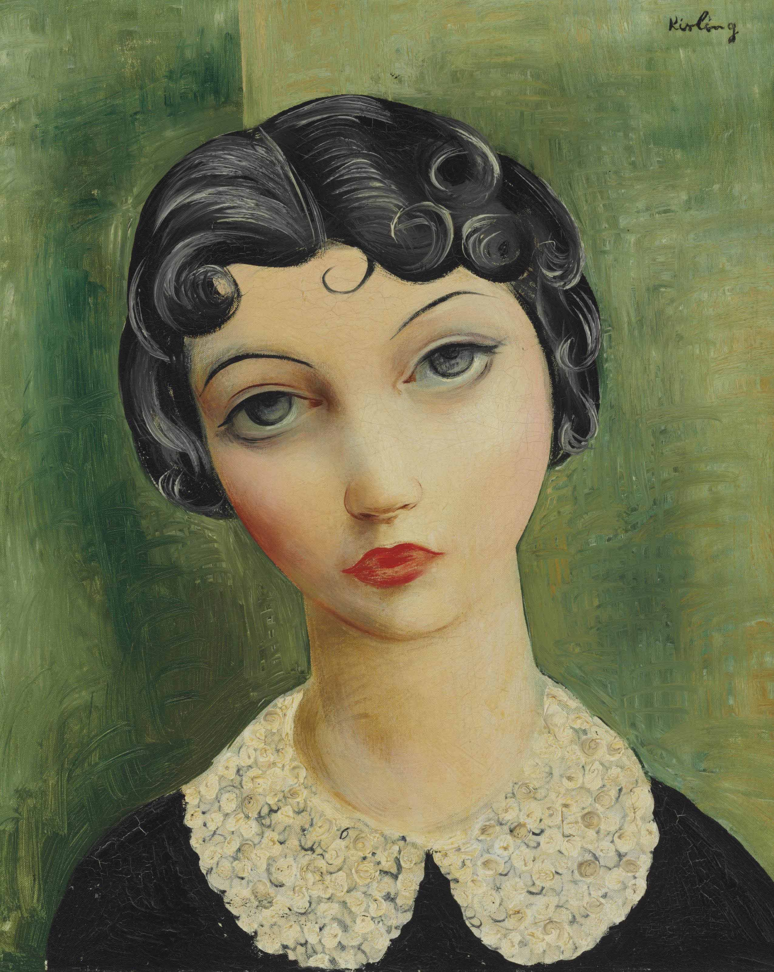 """Mojżesz Kisling, """"Portret z kołnierzykiem"""", 1930 rok, źródło:  Christie's"""