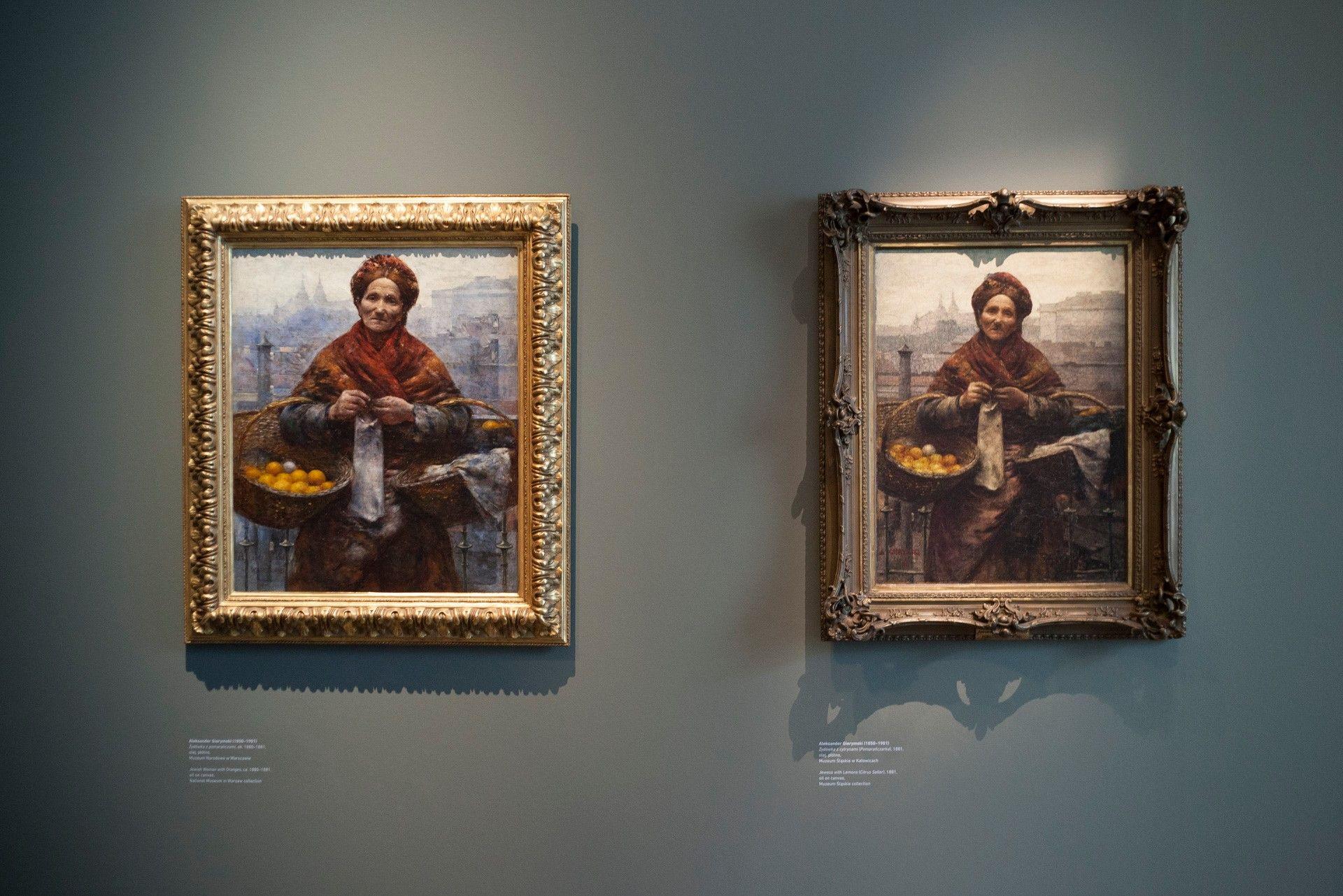 """Aleksander Gierymski """"Żydówka z pomarańczami"""", własność Muzeum Narodowego w Warszawie oraz  """"Żydówka z cytrynami"""", własność Muzeum Śląskiego w Katowicach"""