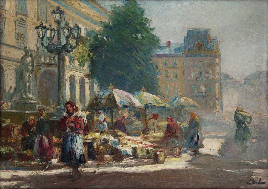 """Erno Erb (1878-1943) """"Scena targowa we Lwowie"""", źródło: Pasarel"""