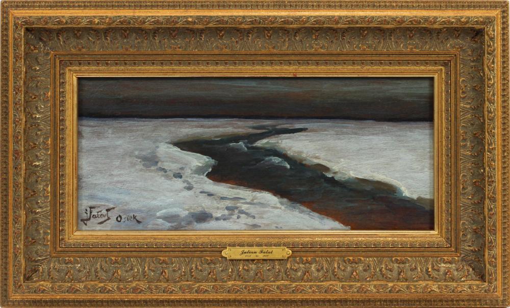 """Julian Fałat (1853-1929) """"Zimowy potok w Osieku"""", źródło: DuMouchelles"""