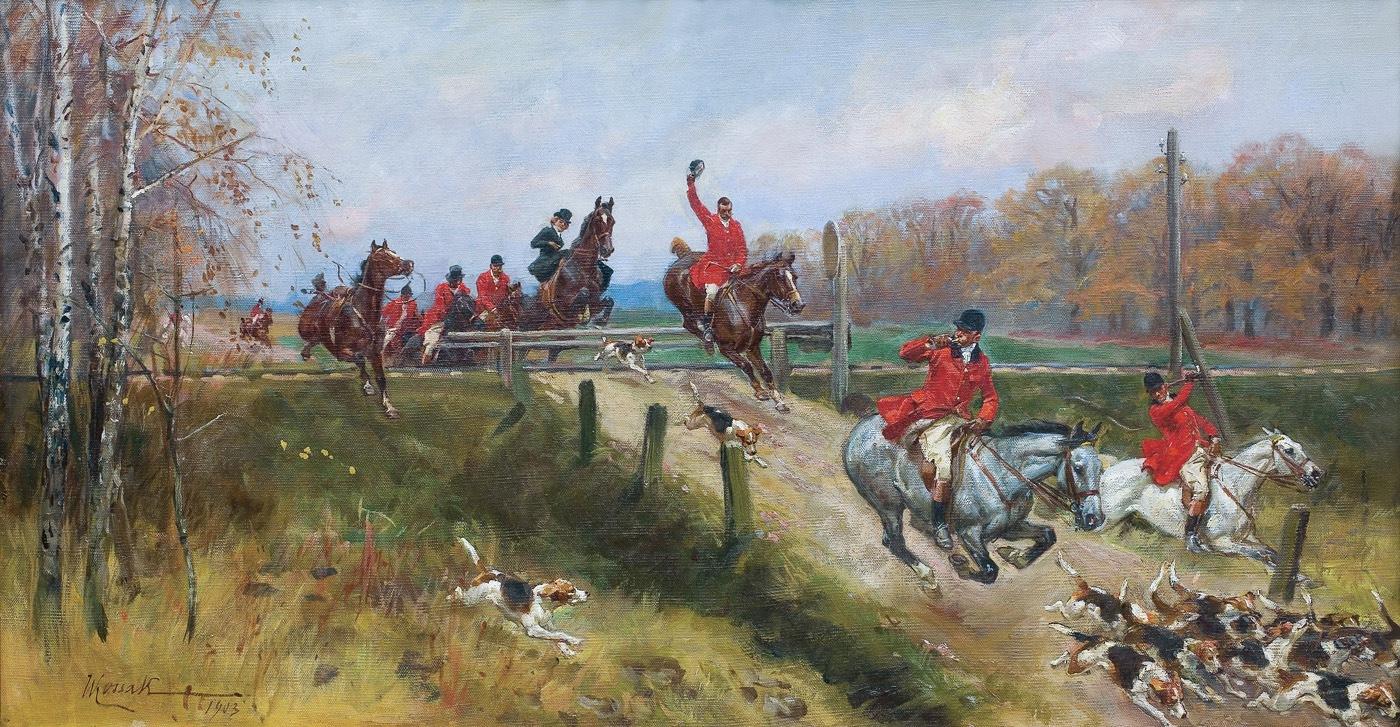"""Wojciech Kossak """"Polowanie par force, 1903, źródło: Agra-Art"""