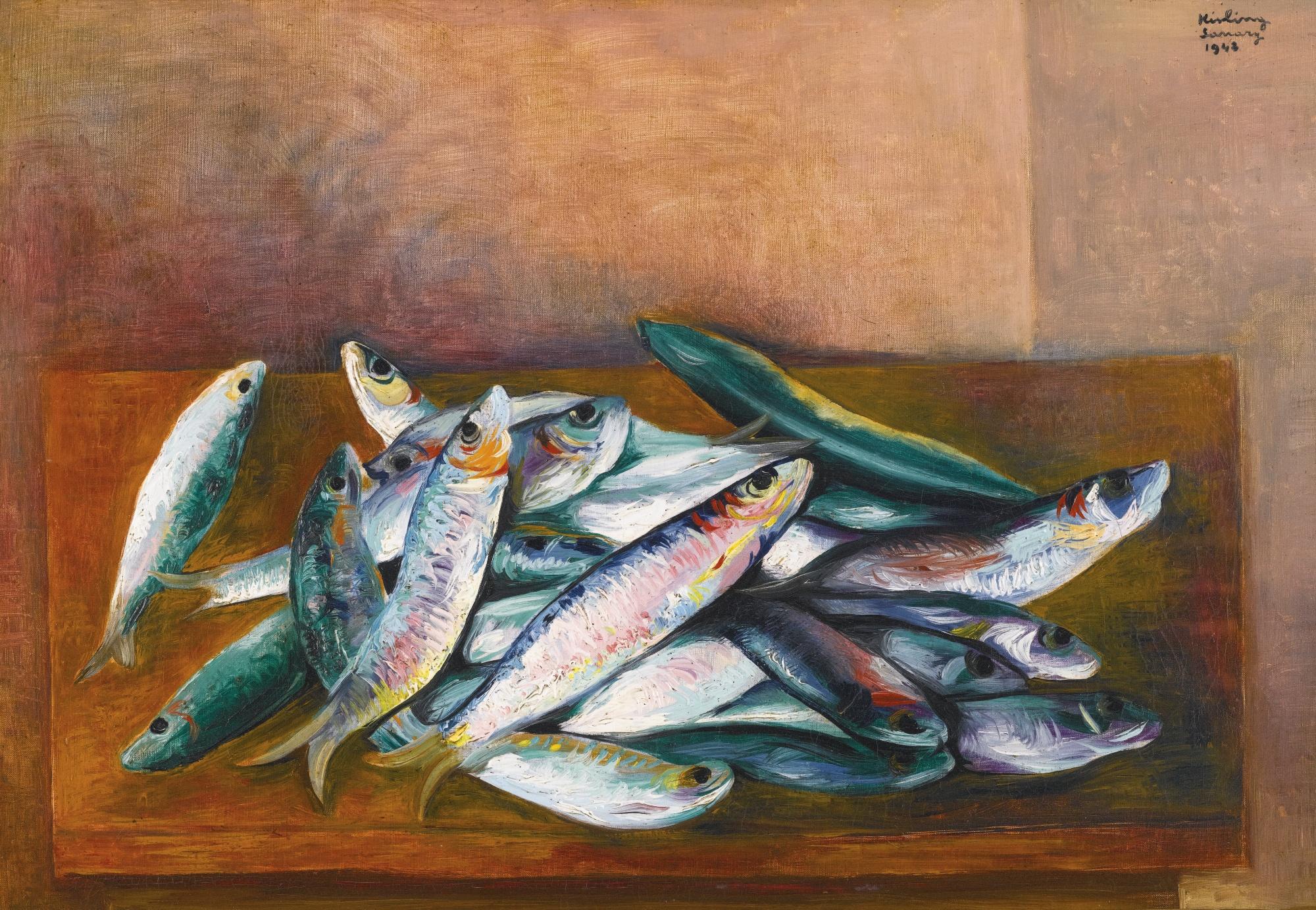 """Mojżesz Kisling """"Martwa natura z sardynkami"""", 1943 rok, źródło: Sotheby's"""