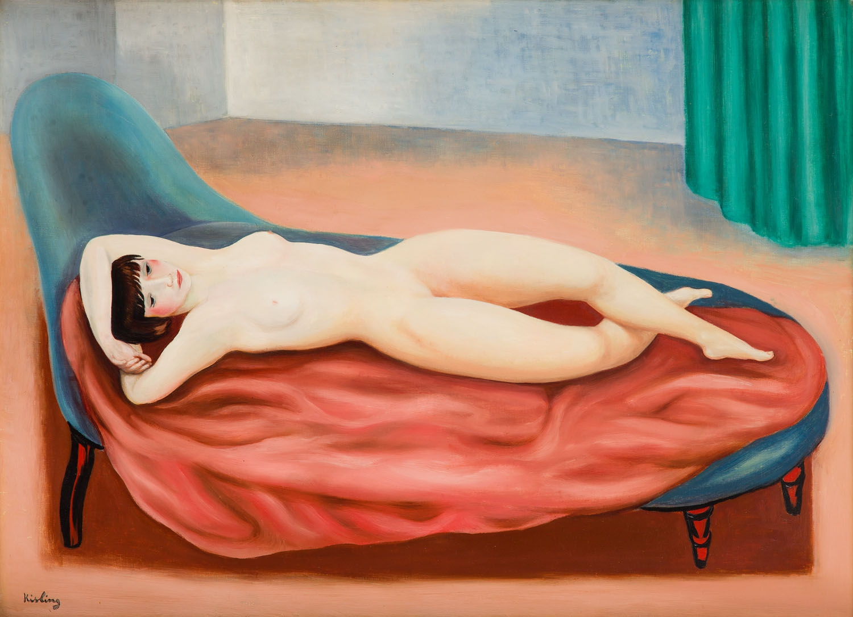 """Mojżesz Kisling """"Akt leżący na czerwonym prześcieradle"""", 1929 rok, źródło: Desa Unicum"""