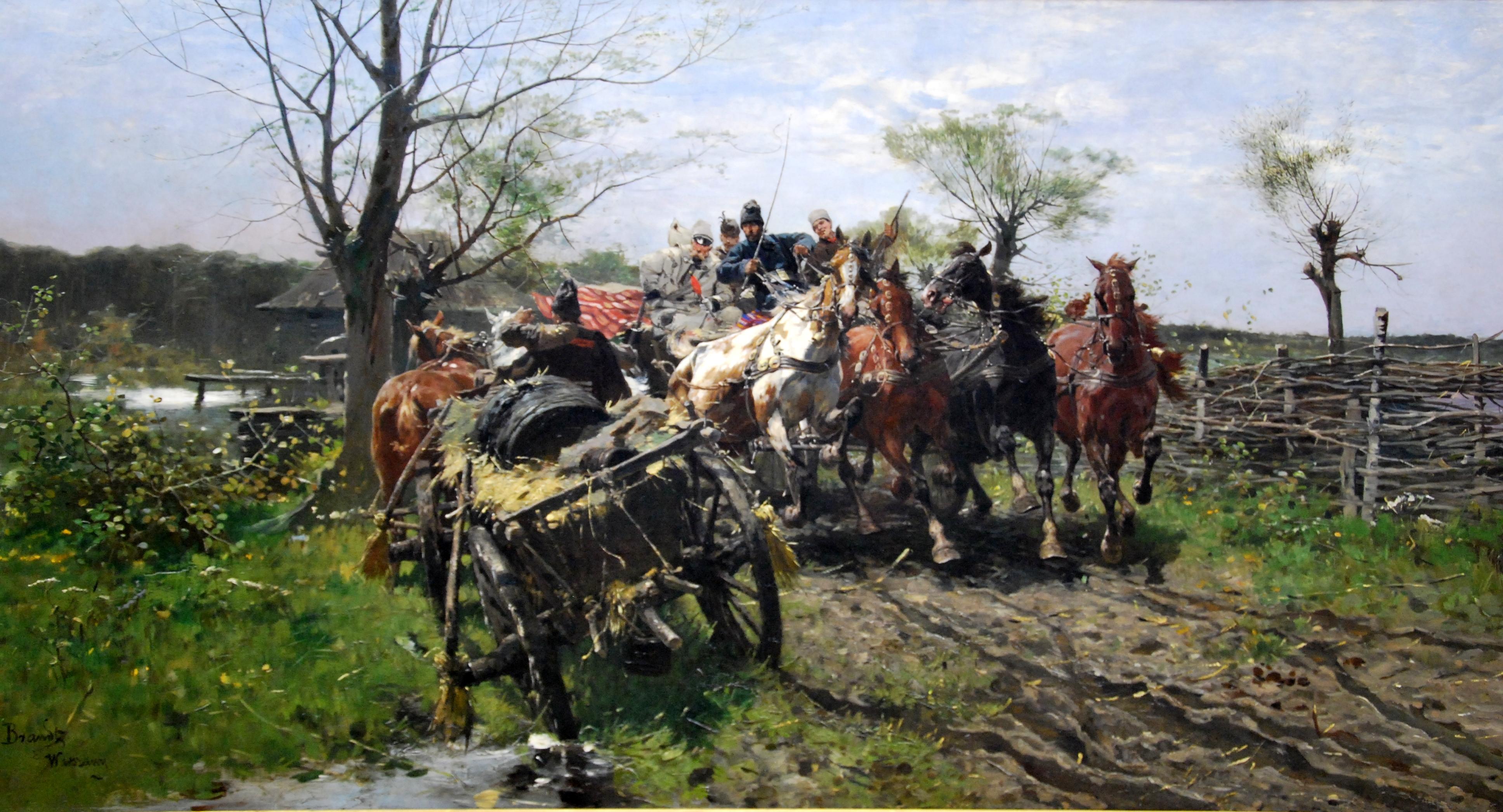 """Józef Brandt """"Spotkanie na moście"""", 1884 rok, źródło: Muzeum Narodowe w Krakowie"""