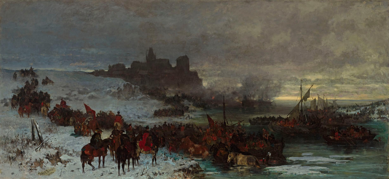 """Józef Brandt """"Czarniecki pod Koldyngą"""", 1870 rok, źródło: Muzeum Narodowe w Warszawie"""