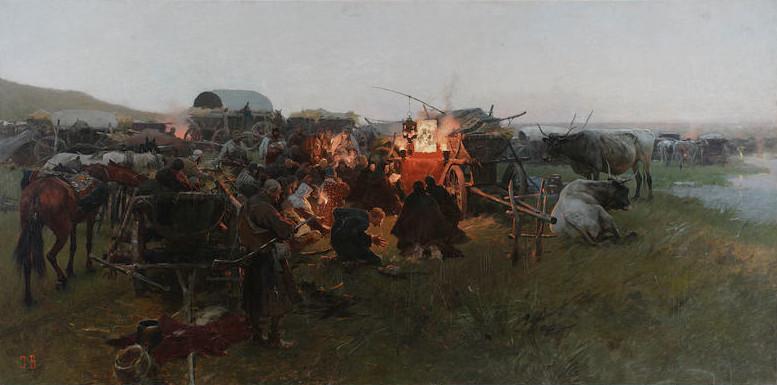 """Józef Brandt """"Modlitwa na stepie"""", źródło: Muzeum Narodowe w Warszawie"""