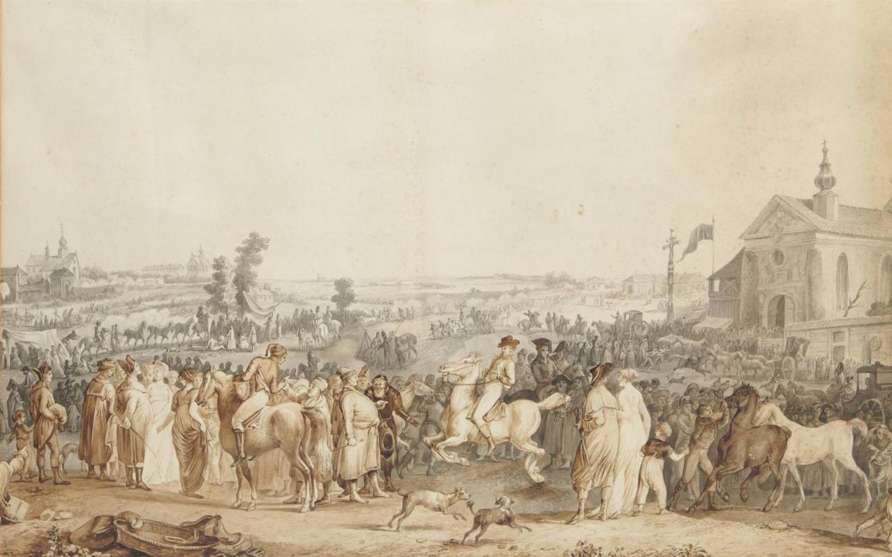 "Jan Piotr Norblin (1745-1830) ""Koński targ"", źródło: Pescheteau-Badin"