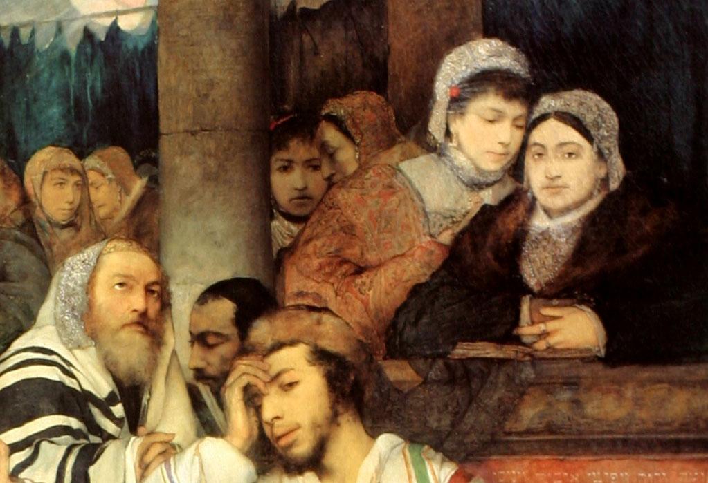 """Maurycy Gottlieb """"Żydzi modlący się w Jom Kippur"""" (fragment), 1878 rok, źródło: Muzeum Sztuki w Tel-Awiwie"""