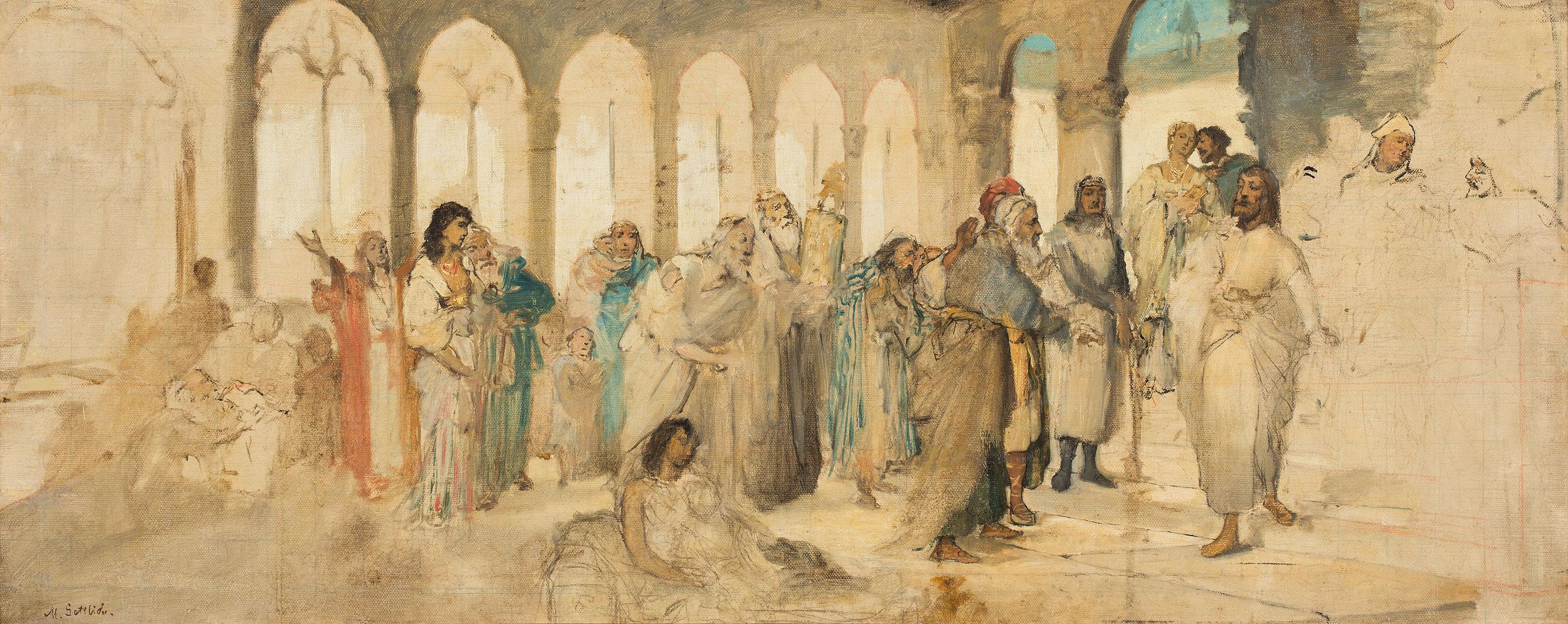 """Maurycy Gottlieb """"Chrystus w świątyni"""", źródło: Polswiss Art"""
