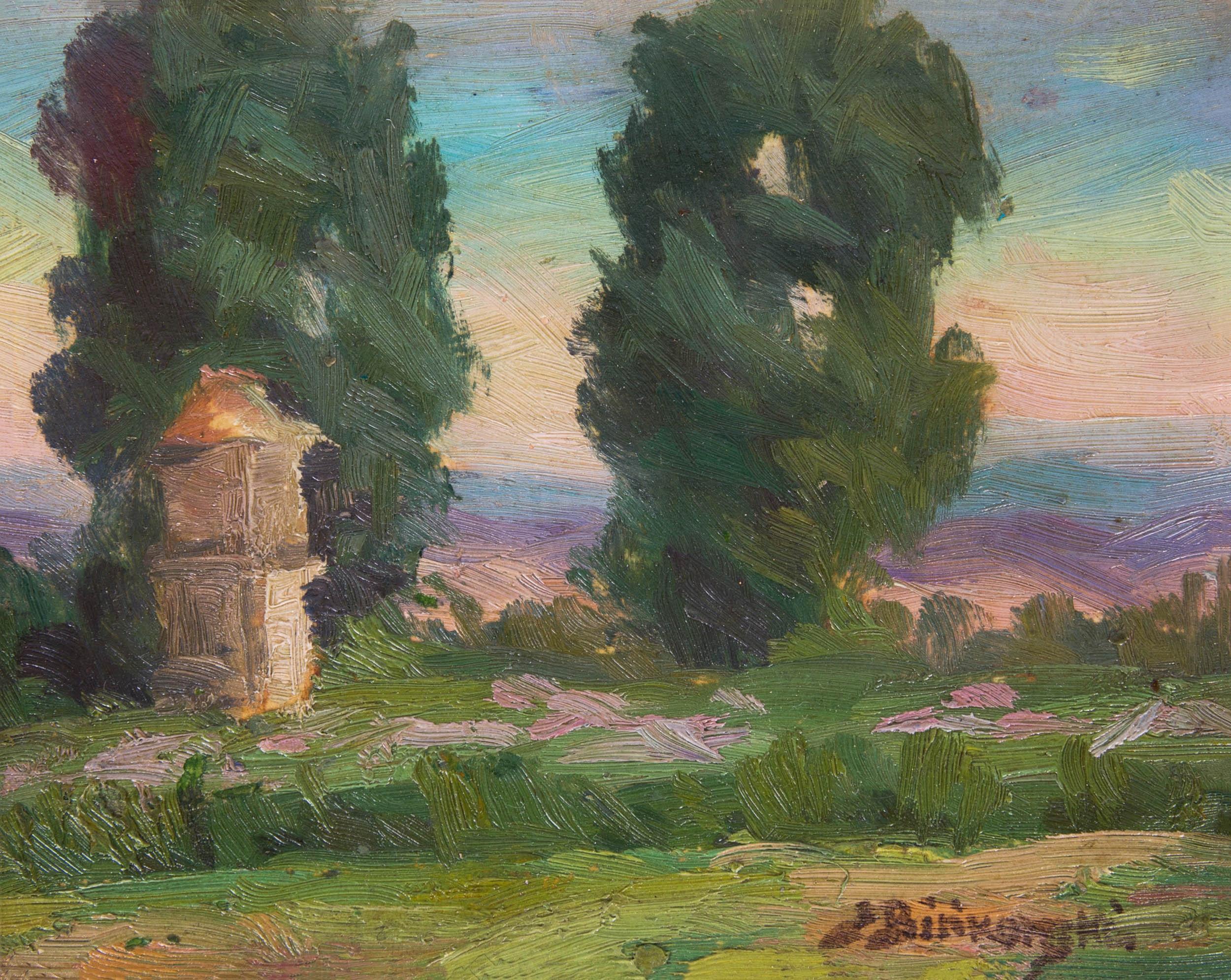 """Stanisław Bińkowski """"Pejzaż z kapliczką"""", źródło: Salon Dzieł Sztuki Connaisseur"""