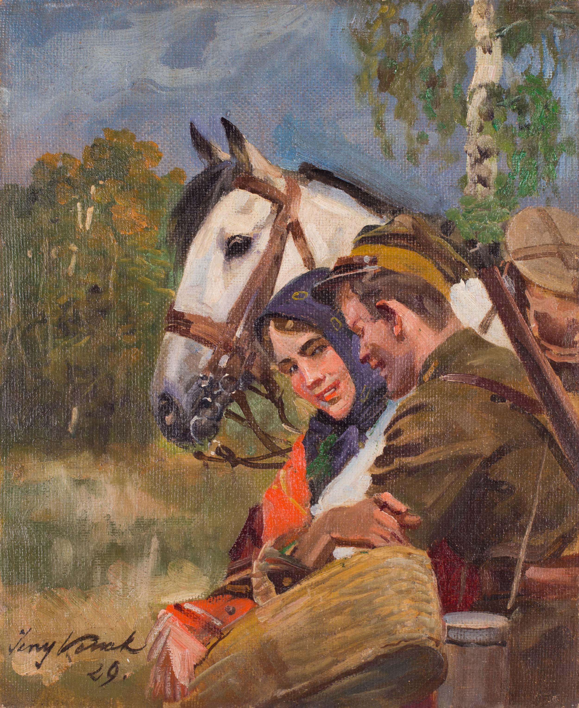 """Jerzy Kossak """"Zaloty ułana"""", 1929 rok, źródło: Salon Dzieł Sztuki Connaisseur"""