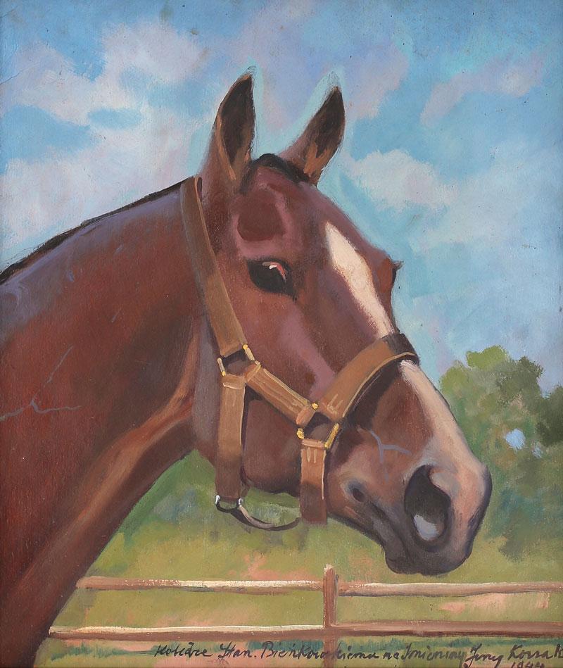 """Jerzy Kossak """"Głowa konia"""", 1944 rok, źródło: Salon Dzieł Sztuki Connaisseur"""