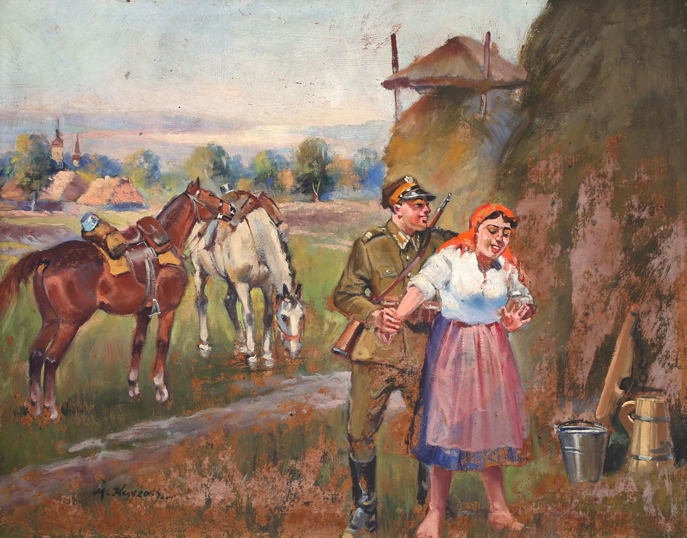 """Mieczysław Krzyżak """"Zaloty ułana"""", źródło: Salon Dzieł Sztuki Connaisseur"""