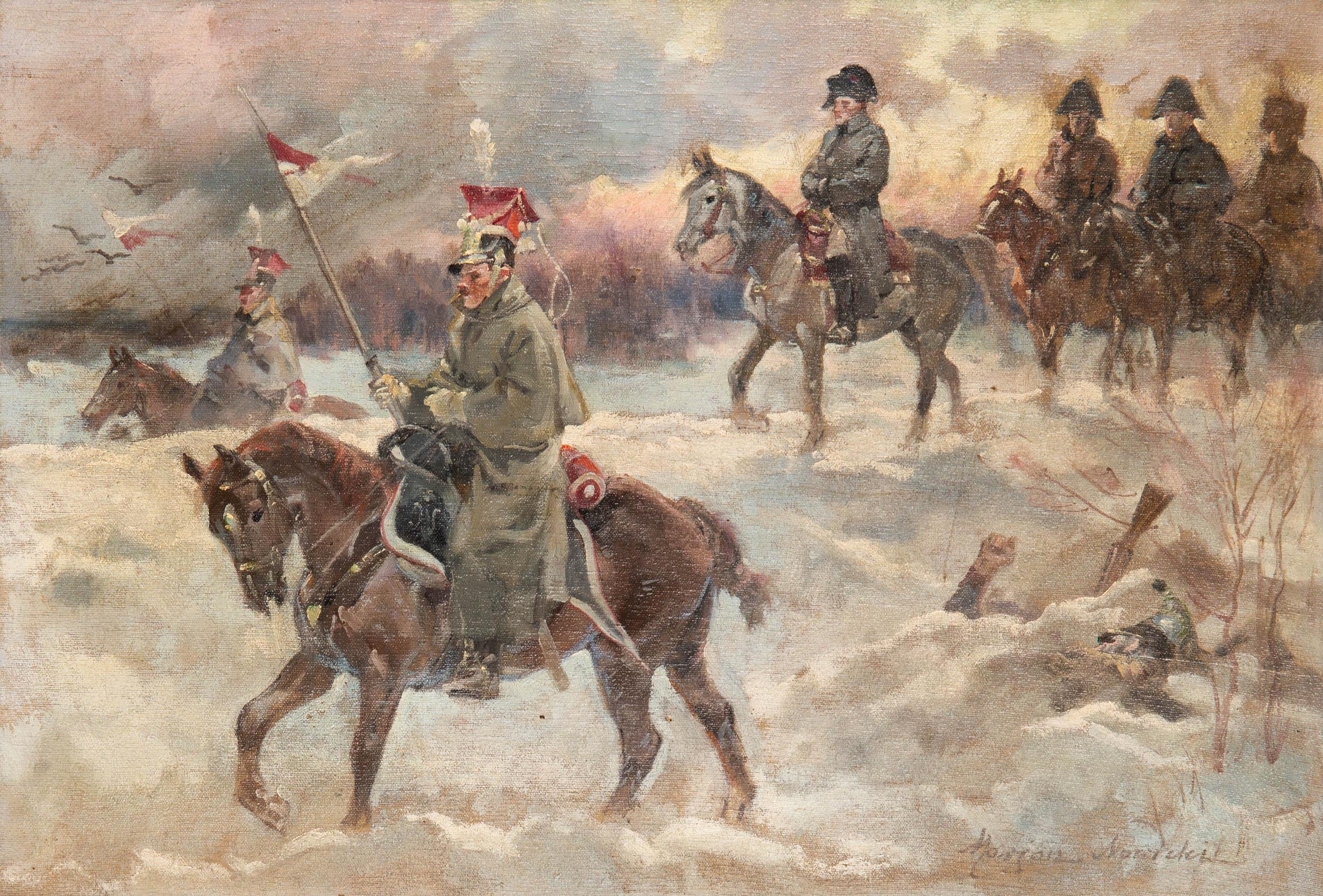 """Stanisław Studencki """"Postój ułana"""", źródło: Salon Dzieł Sztuki Connaisseur"""