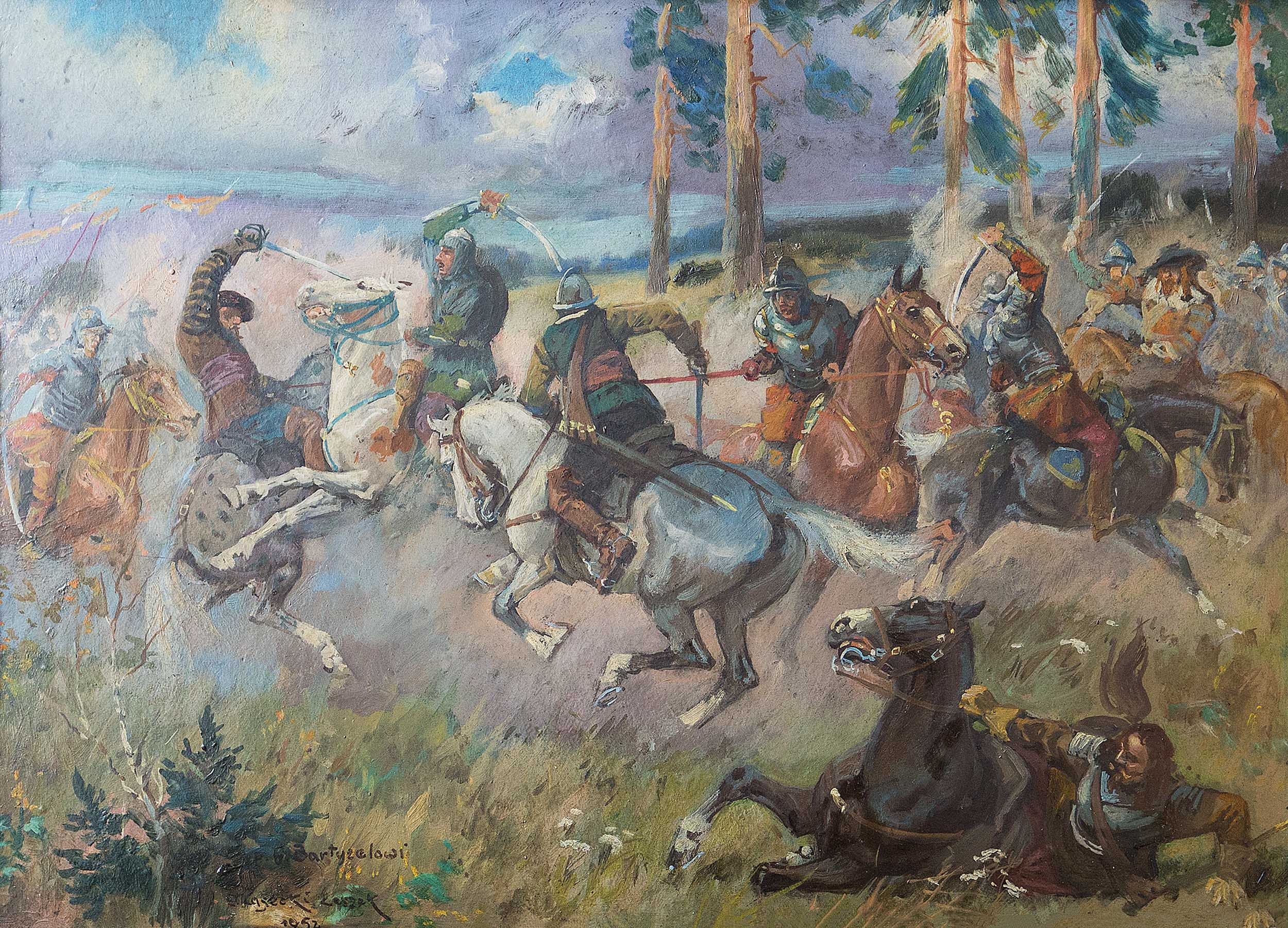 """Leszek Piasecki """"Bitwa"""", 1952 rok, źródło: Salon Dzieł Sztuki Connaisseur"""