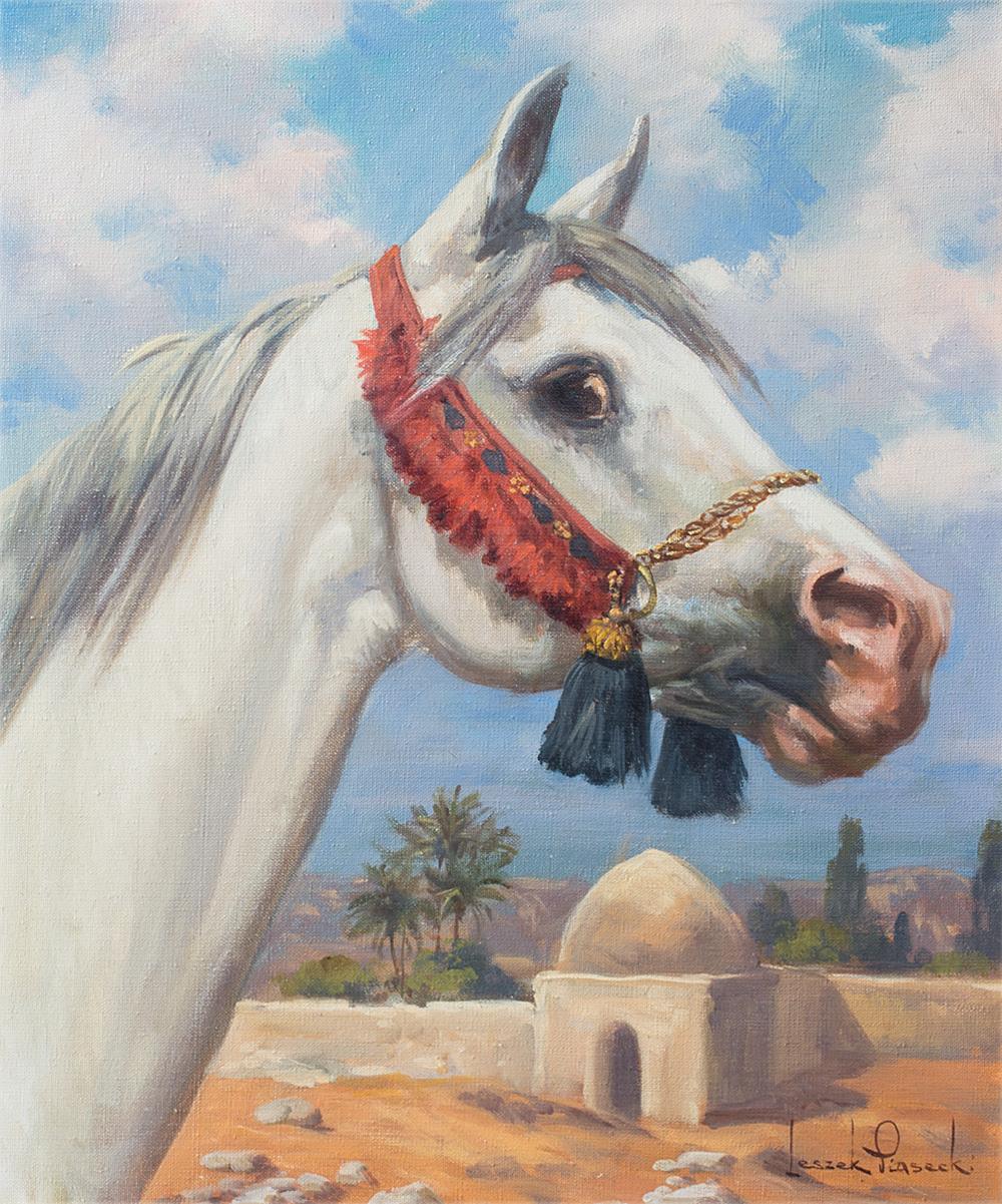 """Leszek Piasecki """"Głowa konia arabskiego"""", źródło: Salon Dzieł Sztuki Connaisseur"""