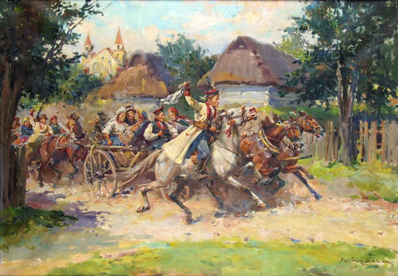 """Juliusz Słabiak """"Wesele krakowskie"""", źródło: Salon Dzieł Sztuki Connaisseur"""