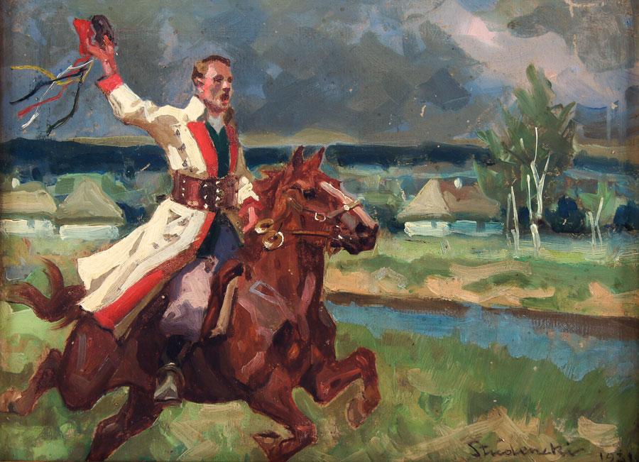"""Stanisław Studencki """"Drużba krakowski"""", 1931 rok, źródło: Salon Dzieł Sztuki Connaisseur"""