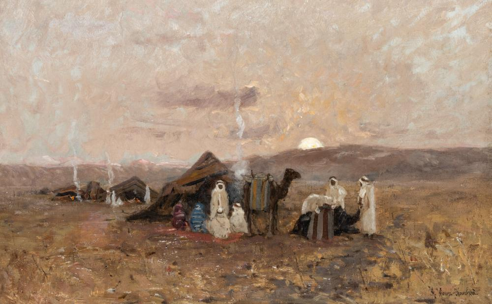 """Alfred Wierusz Kowalski (1849-1915) """"Obóz beduinów"""", źródło: Olympia Auctions"""