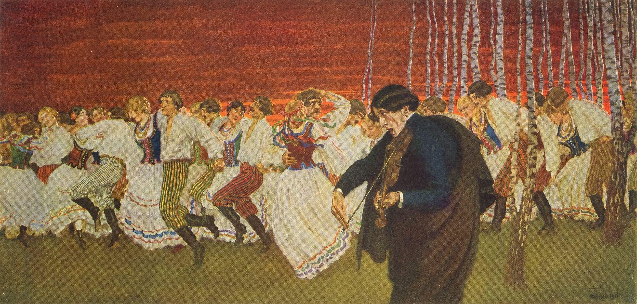 """Edward Okuń, """"Mazurek Chopina"""", 1911 rok (reprodukcja albumowa; obraz zaginiony)"""