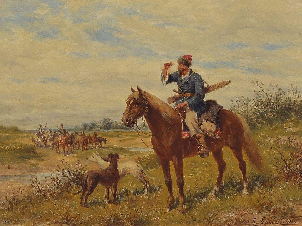 """Ludwik Gędłek (1847-1904) """"Na zwiadach"""", źródło: Henry's Auktionshaus"""
