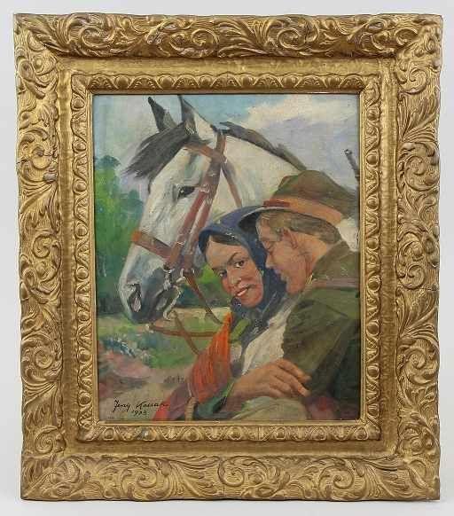 """Jerzy Kossak (1886-1955) """"Umizgi"""", źródło: Auktionshaus OWL"""