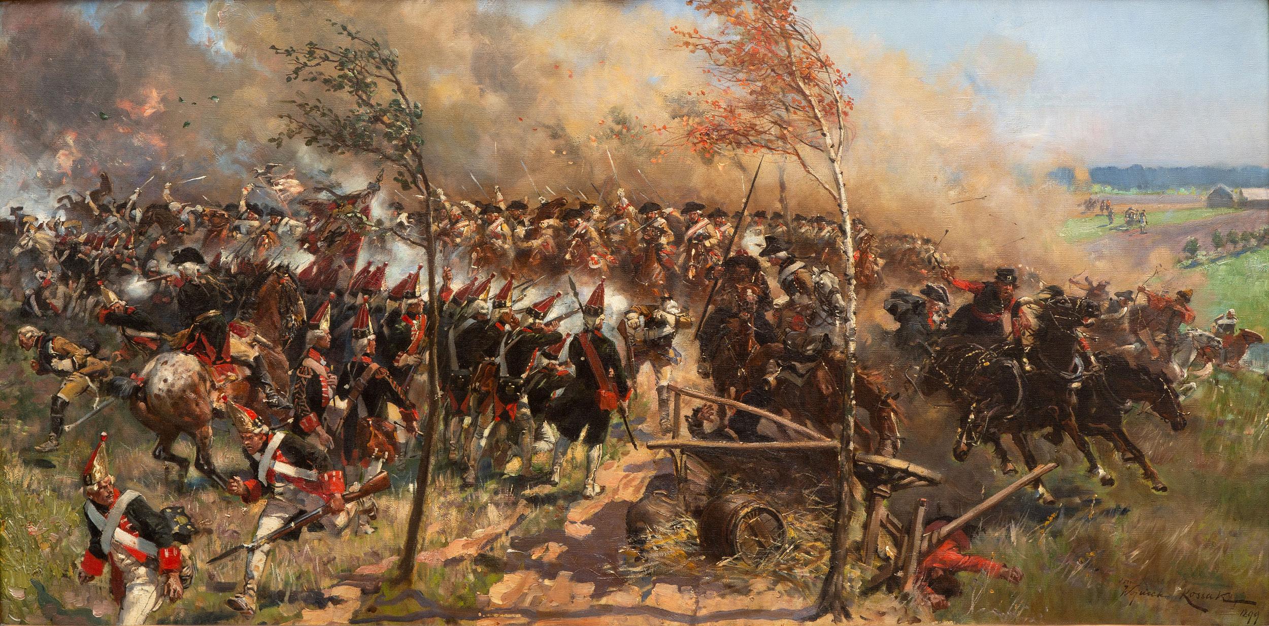 """Wojciech Kossak (1856-1942) """"Bitwa z wojny prusko-austriackiej 1866 roku"""", źródło: Venduehuis der Notarissen"""