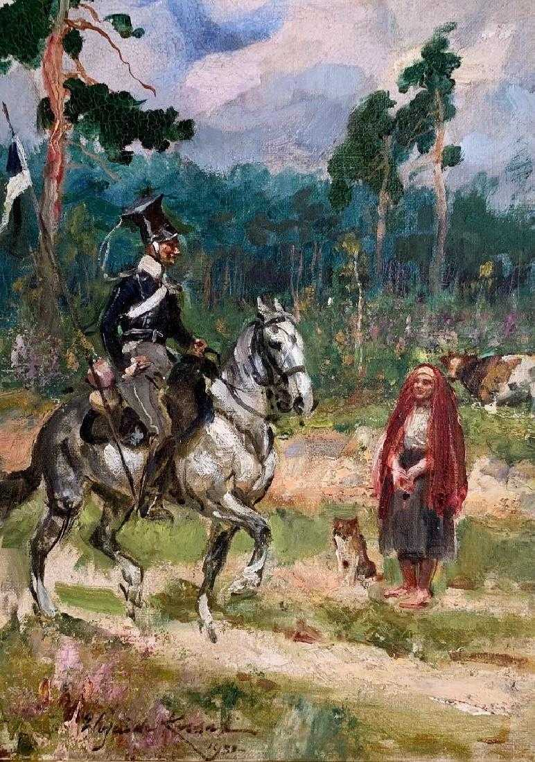 """Wojciech Kossak (1856-1942) """"Ułan pytający o drogę"""", źródło: Neue Auctions"""