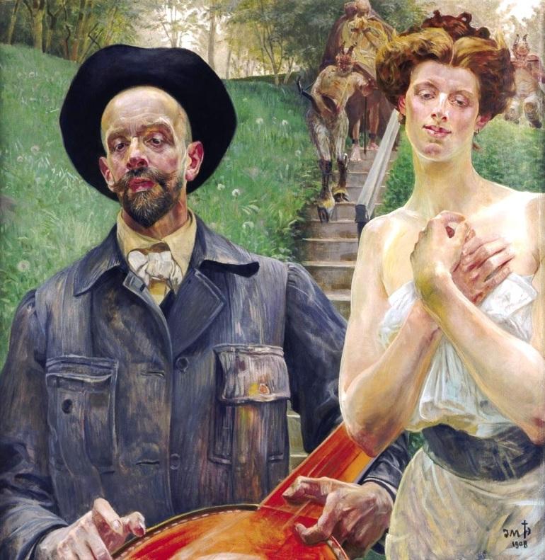 """Jacek Malczewski """"Autoportret z muzą"""", 1908 rok, źródło: Muzeum Okręgowe w Radomiu"""