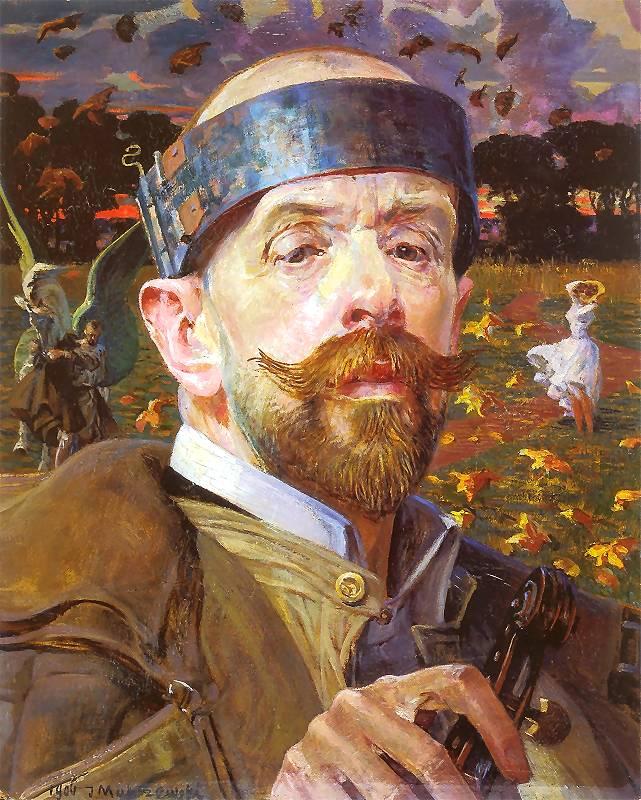"""Jacek Malczewski """"Autoportret z faunami"""" (fragment tryptyku), 1906 rok, źródło: Lwowska Galeria Narodowa"""