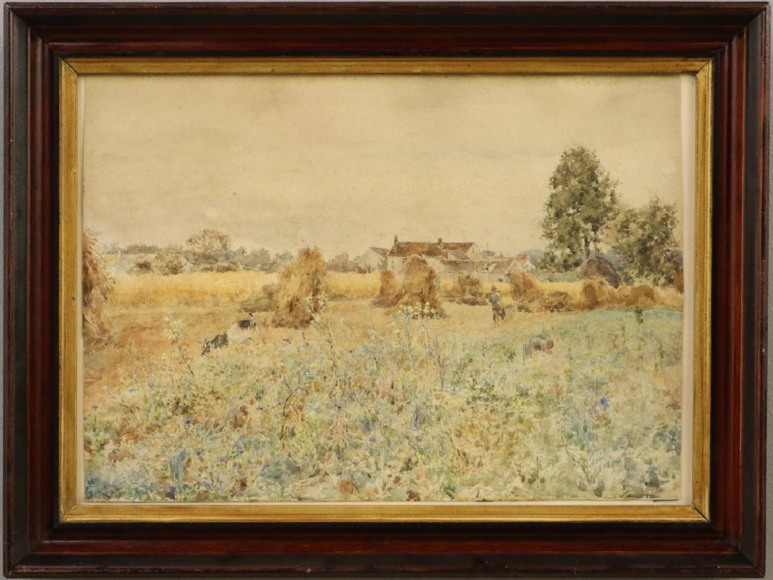 """Stanisław Masłowski (1853-1926) """"Po żniwach"""", źródło: Schmidt's Antiques"""