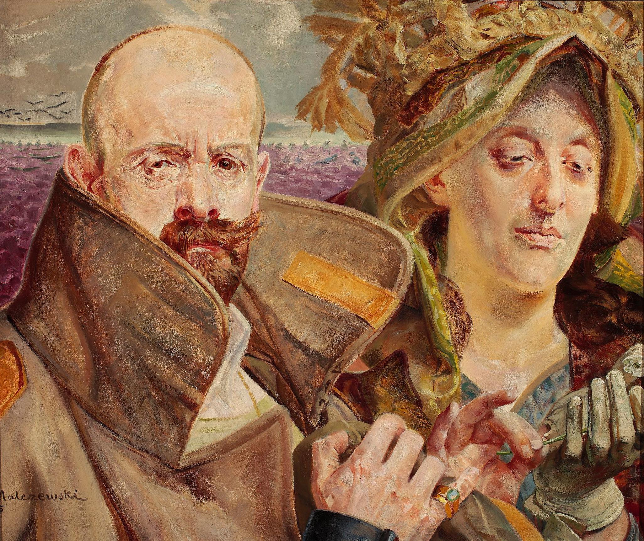 """Jacek Malczewski """"Pierwiosnek - Portret własny z żoną"""", 1905 rok, źródło: Muzeum Narodowe w Warszawie"""