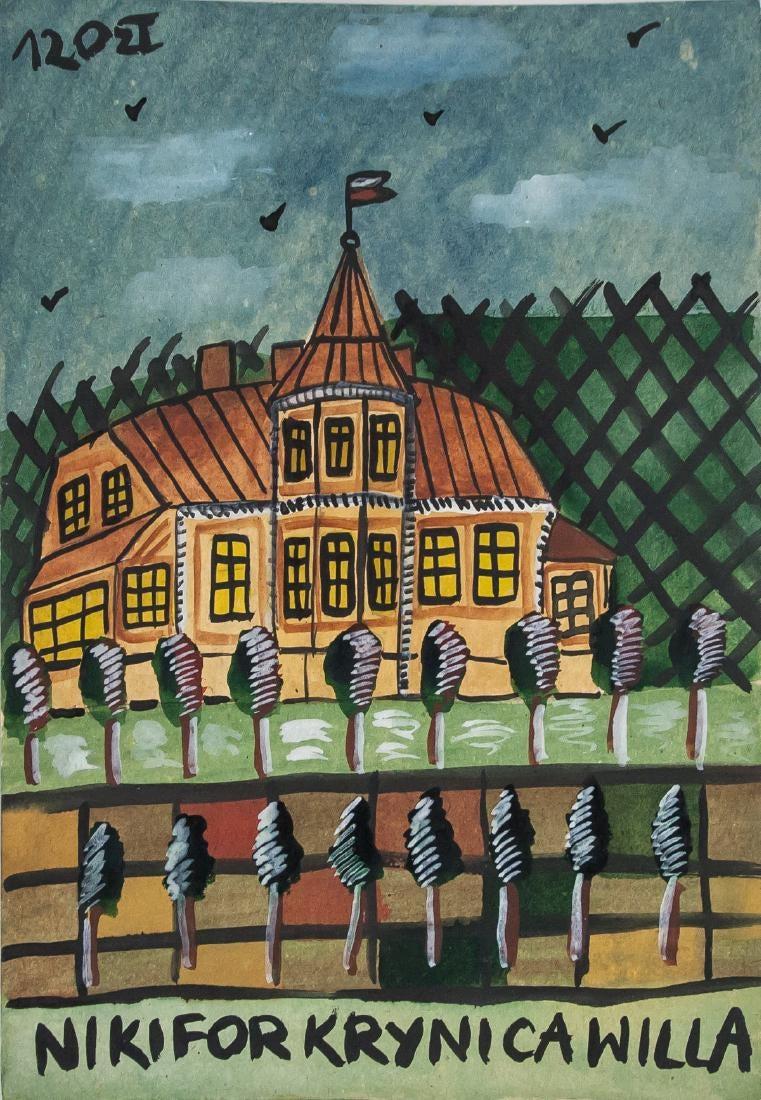 """Nikifor (1895-1968) """"Pejzaż z Krynicy"""", źródło: 888 Auctions"""