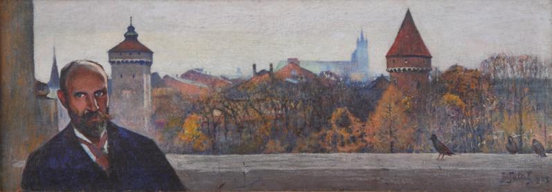 """Julian Fałat """"Autoportret (na tle panoramy Krakowa)"""", 1903 rok, źródło: Muzeum Krakowa"""