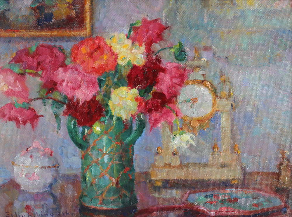 Bliki świetlne na naczyniach oraz zegarze z obrazu Zofii Albinowskiej, źródło: Salon Dzieł Sztuki Connaisseur