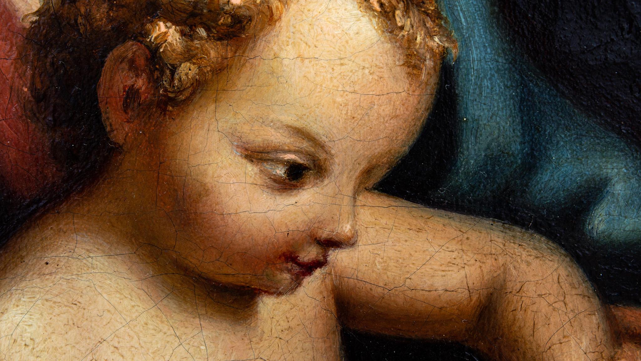 Zbliżenie fotograficzne na naturalne krakelury na obrazie z przełomu XVII i XVIII wieku.