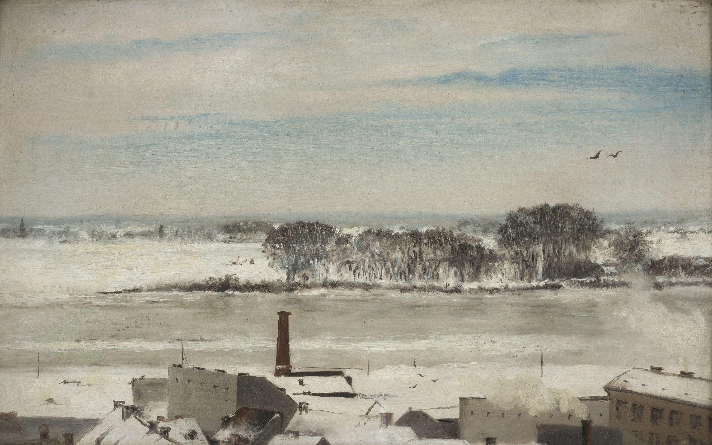 """Anna Bilińska-Bohdanowiczowa """"Widok z okien konserwatorium (Saska Kępa zimą)"""", 1877 rok, źródło: Muzeum Narodowe w Warszawie"""