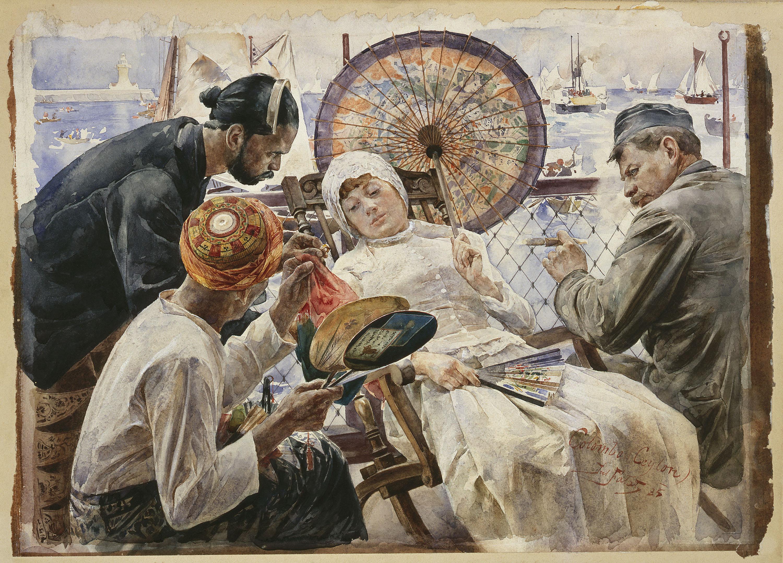 """Julian Fałat """"Na statku - Colombo, Ceylon"""", 1885 roku, źródło: Muzeum Narodowe w Warszawie"""